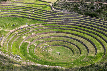 A részben a hihetetlen ősi körök Moray Peru. Található 50 km-re északnyugatra Cusco a Sacred Valley az inkák, úgy gondoljuk, hogy ez egy kutató állomást, ahol vaus növények teszteltük, hogy alkalmasak növekszik az Andokban ha Stock fotó