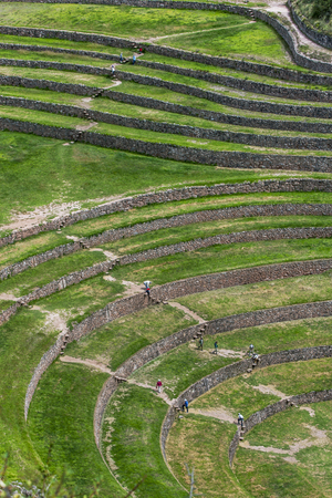 suitability: A section of the incredible ancient circles of Moray in Peru. Located 50 km northwest of Cusco in the Sacred Valley of the Incas, it is believed that this was a research station where various crops were tested for their suitability to grow in the Andes ha Stock Photo