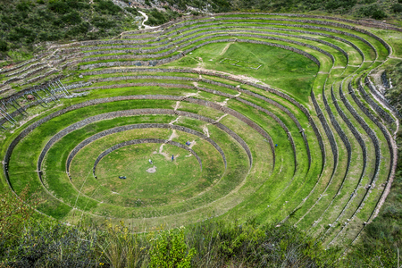 sacred valley of the incas: A section of the incredible ancient circles of Moray in Peru. Located 50 km northwest of Cusco in the Sacred Valley of the Incas, it is believed that this was a research station where various crops were tested for their suitability to grow in the Andes ha Stock Photo