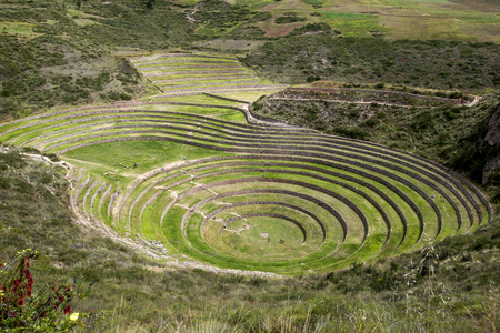 A section of the incredible ancient circles of Moray in Peru. Located 50 km northwest of Cusco in the Sacred Valley of the Incas, it is believed that this was a research station where various crops were tested for their suitability to grow in the Andes ha Stock Photo