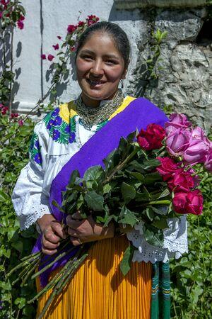 la compania: A worker at Hacienda La Compania Roses Plantation near Cayambe in Ecuador with freshly picked roses. Editorial