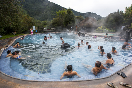 Bathers relax in a thermal pool at the Papallacta Hot Springs in Ecuador. Papallacta is Ecuador's highest town at 3300 metres above sea level. The abundance of hot spring is due to Ecuador having the world's highest concentration of volcanoes with around