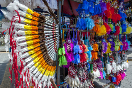 A colourful display of native American Indian products for sale at the Indian Market in Otavolo in Ecuador.