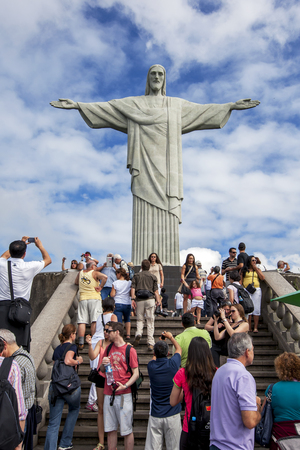 redeemer: The statue of Christ the Redeemer in Rio de Janeiro in Brazil. The statue which is 30 metres high, sits atop Corcovado Mountain and was completed in 1931. Editorial
