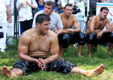 edirne: Champion wrestler Recep Kara waits for the heavy weight division to be called onto the arena on the final day of competition at the Kirkpinar Turkish Oil Wrestling Festival in Edirne in Turkey.