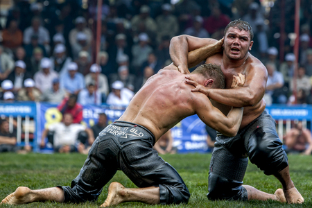 wrestlers: Middle weight wrestlers struggle for victory at the Kemer Turkish Oil Wrestling Festival in Kemer, Turkey.