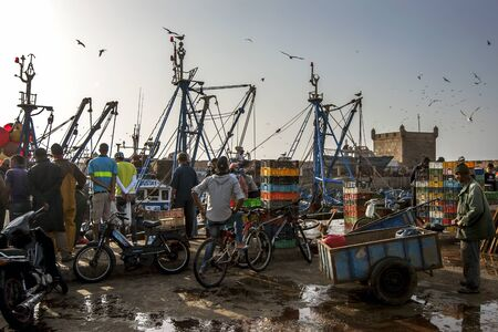 18th century: Late afternoon at the fishing port of Essaouira in Morocco. The present city of Essaouira was built during the 18th century by Mohammed III who wished to reorient his kingdom toward the Atlantic for security reasons. French engineer, Theodore Cornut built