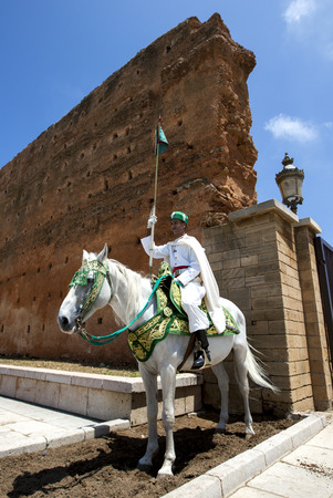 12th century: A mounted soldier at the 12th Century walled entrance to Hassan Tower in Rabat, Morocco.