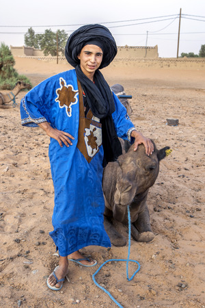 merzouga: A young Moroccan man with one of the team of camels assembled for tourists to ride at Erg Chebbi(Sand Sea) near Merzouga in Morocco. Editorial