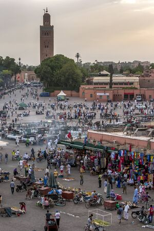market place: A view of Jemaa el-Fnaa which is a square and market place in Marrakeshs medina quarter. Marrakesh in Morocco was founded by the Almoravids 1070-1072.