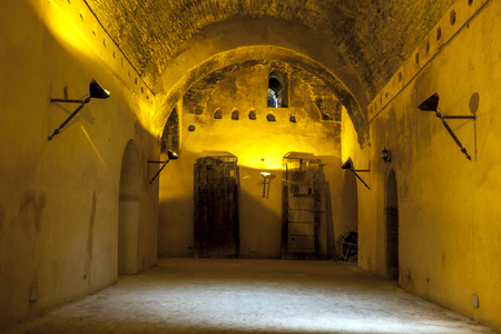 17th: Interior of the old granary of the Heri es-Souani in Meknes, Morocco. The granary was built by Moulay Ismail, one of Morocco's greatest rulers, who made Meknes his capital city in the 17th century.