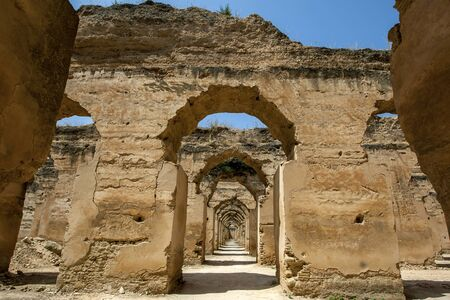 Ruins of the stables at Heri es-Souani in Meknes, Morocco. The stables once housed up to 12000 horses and was built by Moulay Ismail, one of Morocco's greatest rulers, who made Meknes his capital city in the 17th century. Banco de Imagens