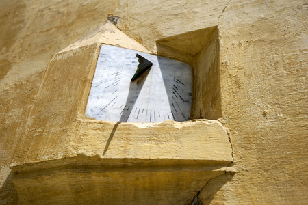 sun dial: A sun dial in the Mausoleum of Moulay Ismail in Meknes, Morocco. Stock Photo