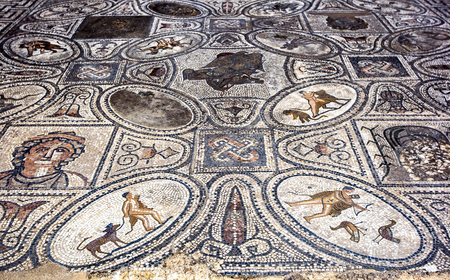 1st century ad: The beautiful mosaics in the House of the Labours of Hercules at the ancient site of Volubilis near Meknes in Morocco. The mosaic dates from the 1st century AD. Volubilis was the ancient capital of the Roman province of Mauritania.