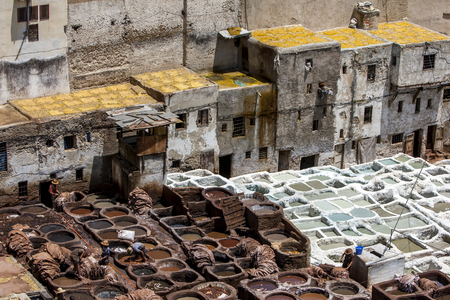 11th century: The famous Chouara Tannery in the Fez medina in Morocco. The leather tannery dates back to the 11th century AD.