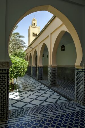 mausoleum: A section of the beautiful courtyard at the Mausoleum of Moulay Ismail in Meknes, Morocco.
