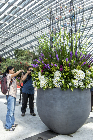 atrium: Visitors to the Garden by the Bay atrium in Singapore photograph a floral display. Editorial