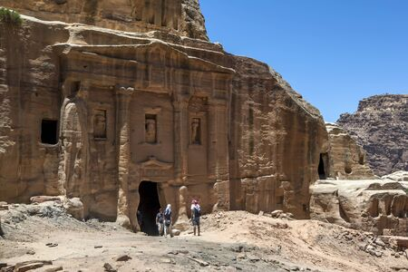 1st century ad: The impressive ruins of the Soldier Tomb which lies along the Wadi al-Farasa processional route at Petra in Jordan. Believed to have been the centrepiece of a much larger complex, it was built by the Nabataeans during the second half of the 1st century AD