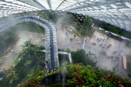 atrium: The magnificent rainforest atrium with sky walk  at the Garden by the Bay in Singapore.