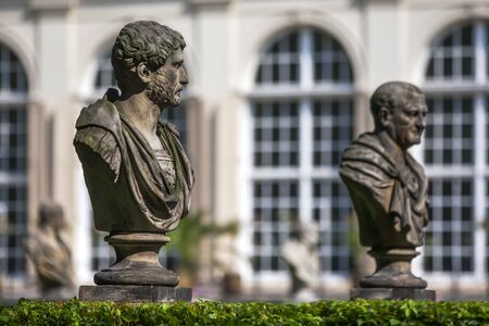 lazienki: Statues in front of the Old Orangery in Lazienki Park in Warsaw, Poland.