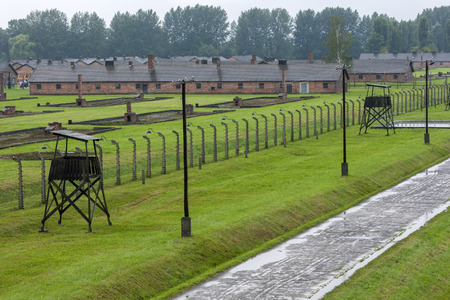concentration camp: A section of the Auschwitz-Birkenau Concentration Camp barracks in Poland. Auschwitz-Birkenau State Museum is located near Oswiecim in Poland.