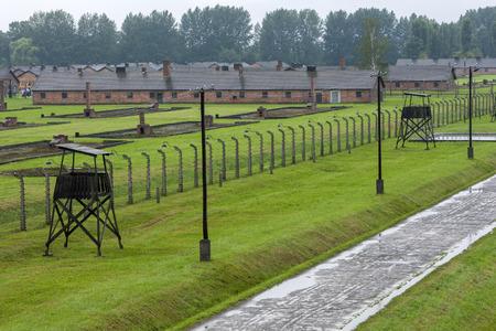 oswiecim: A section of the Auschwitz-Birkenau Concentration Camp barracks in Poland. Auschwitz-Birkenau State Museum is located near Oswiecim in Poland.