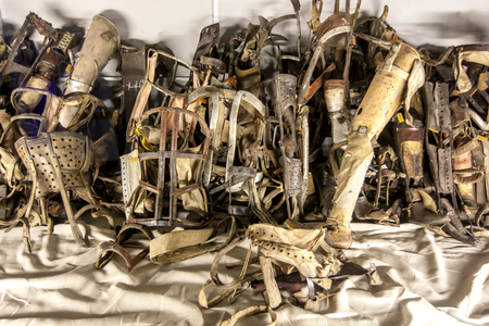 prothesis: A collection of prothesis removed from prisoners at Auschwitz-Birkenau Concentration Camp.  Auschwitz-Birkenau State Museum is located near Oswiecim in Poland.