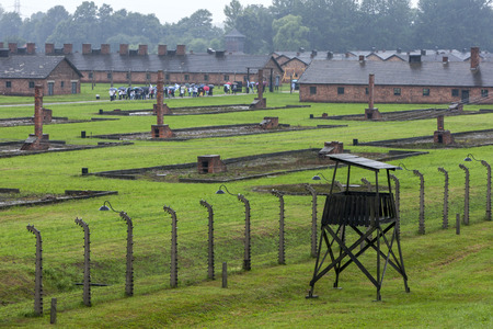 concentration camp: A section of the Auschwitz-Birkenau Concentration Camp in Poland showing the brick chimneys of the prisoner barracks. Auschwitz-Birkenau State Museum is located near Oswiecim in Poland. Editorial
