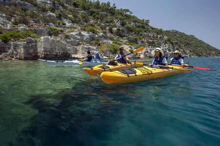 2nd century: Kayakers paddle over the Sunken City off the shore of Kekova Island in the western Mediterranean region of Turkey. Originally part of the ancient city of Simena, the island was hit by severe earthquakes in the 2nd century AD resulting in the island sinkin