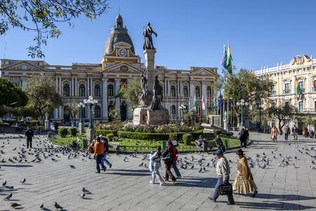 murillo: People walk through the beautiful Legislative Palace in Plaza Murillo in La Paz in Bolivia.