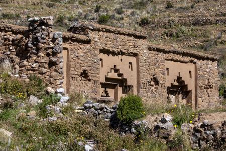LUNA: Ruins of Virgins of the Sun Temple on Moon Island, also known as Isla de la Luna, located on Lake Titicaca. Stock Photo