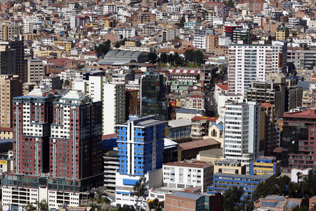 to dominate: Highrise buildings dominate the spectacular La Paz skyline in Bolivia. At a height of 3,650 metres above sea level, La Paz is the worlds highest administrative capital. Editorial