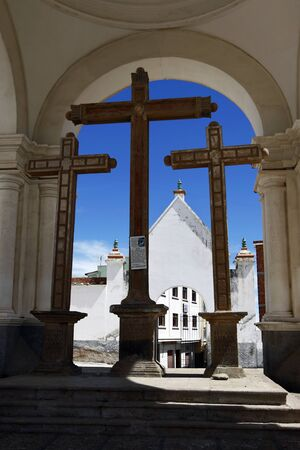 christian crosses: A section of the Basilica of Our Lady of Copacabana, the famous Catholic church in Copacabana in Bolivia. Our Lady of Copacabana is the patron saint of Bolivia. Copacabana sits on the shore of Lake Titicaca. Editorial