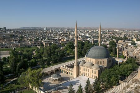 camii: The magnificent Mevlid-i Halil Camii (mosque)  in Urfa (Sanliurfa) in Turkey. Stock Photo