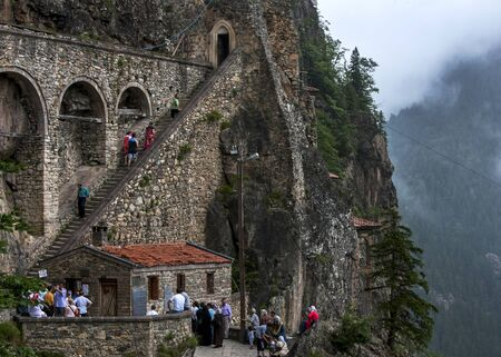 cliff face: The staircase clinging to the side of a cliff face which leads up to Sumela Monastery near Trabzon on the Black Sea coast of Turkey. Built in 386 AD it was a Greek Orthodox monastery dedicated to the Virgin Mary.