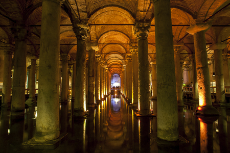justinian: The magnificent interior of the Basilica Cistern in the Sultanahmet district of Istanbul in Turkey. Built by Emperor Justinian in 532 AD it is 65 metres wide and 143 metres long and consists of 336 columns in 12 rows.