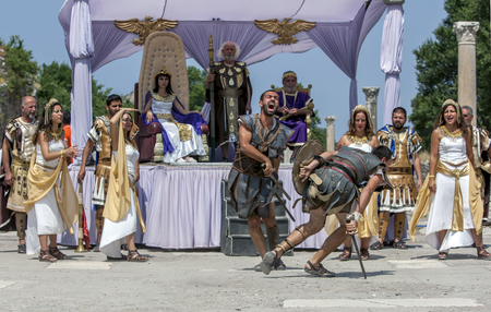1st century ad: Gladiators fight for victoy in front of an audience which includes Cleopatra and Mark Anthony during the re-enactment show on Harbour Street at Ephesus. The ancient site of Ephesus was once a great Greek and then Roman city and the ruins seen today date f