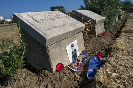 cpl: The headstone of 2251 Lance Cpl J.A.E. Harris, 2nd BN Australian Inf at Lone Pine Cemetery, Gallipoli, Turkey.  He is believed to be the youngest Australian soldier killed in action at 15 years of age. He died on 8th August 1915 during World War One.