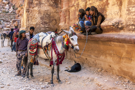 possibly: Bedouin men with their horses and donkeys waiting for customers to take riding at the ancient Treasury in Petra, Jordan. Petra was established possibly as early as 312 BC as the capital city of the Arab Nabataeans.