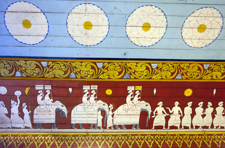 wall mural: A mural depicting a perahera (Buddhist procession) on the entrance wall to the Temple of the Sacred Tooth Relic in Kandy, Sri Lanka.