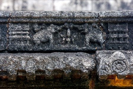 southern indian: A stone carving depicting two elephants on the Buddhist image house (gedige) at Nalanda Gedige near Matale in Sri Lanka . The temple was built in southern Indian style.
