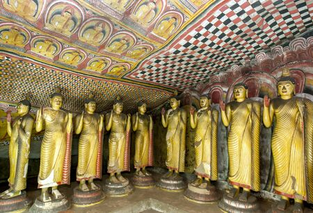 1st century: Standing Buddha statues inside Cave Three (Maha Alut Viharaya) at the Dambulla Cave Temples in central Sri Lanka. The temples date to the 1st century BC. Editorial
