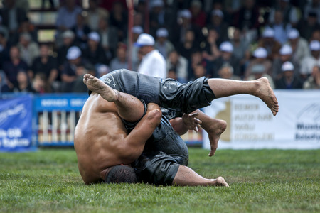 wrestlers: Heavy weight wrestlers tie themselves in a knot during competition at the Kagithane Turkish Oil Wrestling Festival in Istanbul in Turkey. Editorial