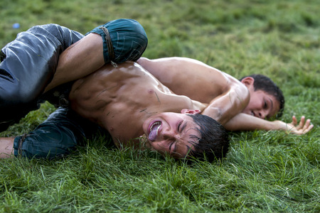 concede: A young wrestler in extreme pain is forced to concede victory to his opponent at the Elmali Turkish Oil Wrestling Festival in Elmali in Turkey.