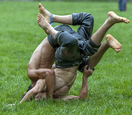 wrestlers: Wrestlers slam into the turf during competition at the Kagithane Turkish Oil Wrestling Festival in Istanbul in Turkey. Editorial