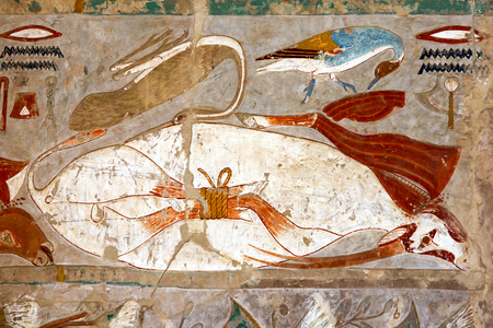 mortuary: An engraved relief at the Mortuary Temple of Hatshepsut at Deir al-Bahari.  The temple is located on the west bank of the Nile near the Valley of the Kings at Luxor in central Egypt. Stock Photo