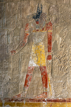 egypt anubis: An engraved relief depicting Anubis (the Canine God of Funerals and the Dead) at the Mortuary Temple of Hatshepsut at Deir al-Bahari near Luxor in central Egypt. Stock Photo