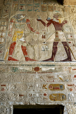 mortuary: A section of the incredible reliefs and hieroglyphs at the Mortuary Temple of Hatshepsut at Deir al-Bahri near Luxor in central Egypt. Stock Photo