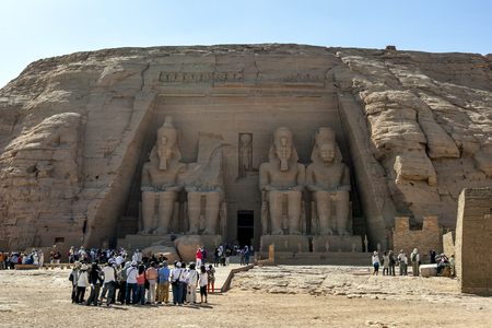 abu simbel: The magnificent ruins of the Great Temple of Rameses II at Abu Simbel in Egypt. Built on the west bank of the River Nile between 1274 and 1244 BC, it was largely seen as a monument constructed by the pharoh to glorify himself. It was swallowd up by the mo