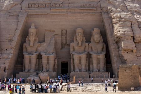 abu simbel: The magnificent ruins of the Great Temple of Ramesses II at Abu Simbel in Egypt. Built on the west bank of the River Nile between 1274 and 1244 BC, it was largely seen as a monument constructed by the pharoh to glorify himself.